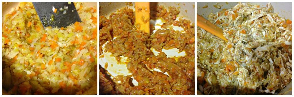 verduras y farsa de canelones de pollo asado